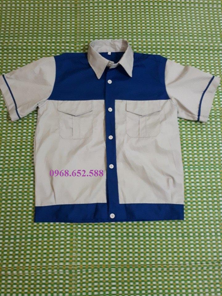Quần áo bảo hộ giá rẻ| Quần áo công nhân| Quần áo bảo hộ lao động phối màu cộc tay