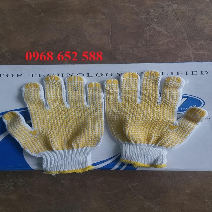 Găng tay bảo hộ, Găng tay bảo hộ lao động, Găng tay sợi phủ hạt nhựa vàng