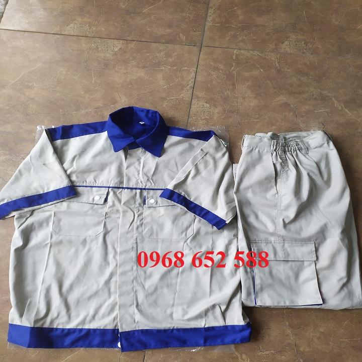 Quần áo bảo hô lao động| Quần áo bảo hộ lao động cộc tay phối màu vải Kaki Nam Định