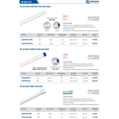 Bộ đèn Led Tube bán nguyệt Mica 3 màu 32W 1.2m