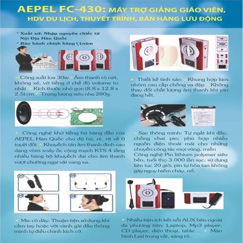Bộ mic, loa, máy trợ giản Aepel korea FC-430 nhập nguyên chiếc từ nội hàn quốc