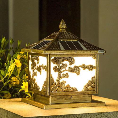 Đèn trụ cổng vuông cao cấp hình cây tùng