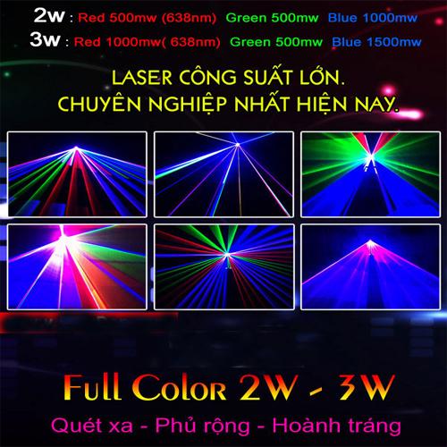Đèn laser 7 màu 2,3,5w RGB