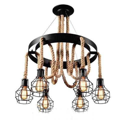 Đèn Thả: Mẫu đèn thả chùm dây thừng 6 chóa trang trí quán cafe LCC8017