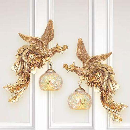 Bộ đèn vách tường gắn tường hình chim phượng hoàng vàng tân cổ điển