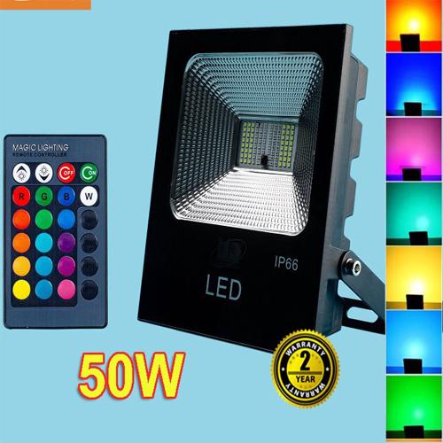 Đèn pha led 50W ánh sáng đổi màu có điều khiển