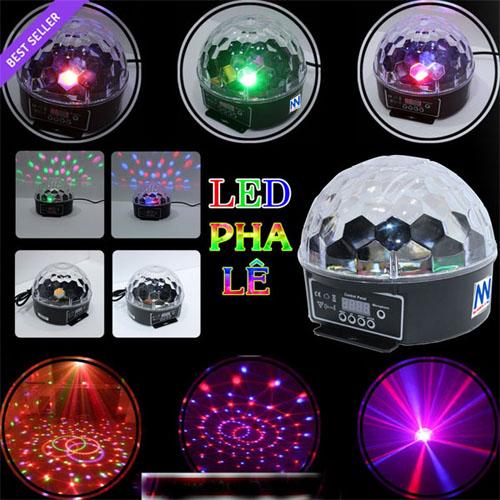 Đèn pha lê 7 màu cảm ứng theo nhạc