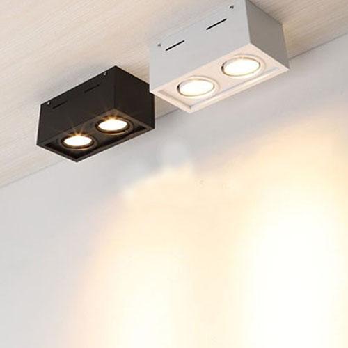 Đèn ốp trần hộp nổi LED COB 2x7w xoay góc