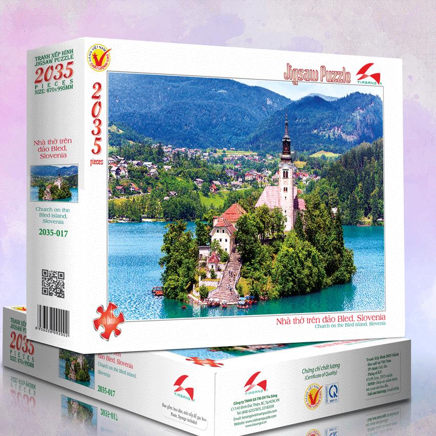 Tranh xếp hình 2035-017 Nhà thờ trên đảo Bled