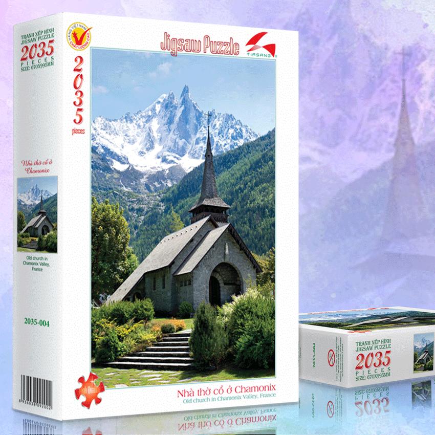 Tranh xếp hình 2035-004 Nhà thờ cổ Chamonix