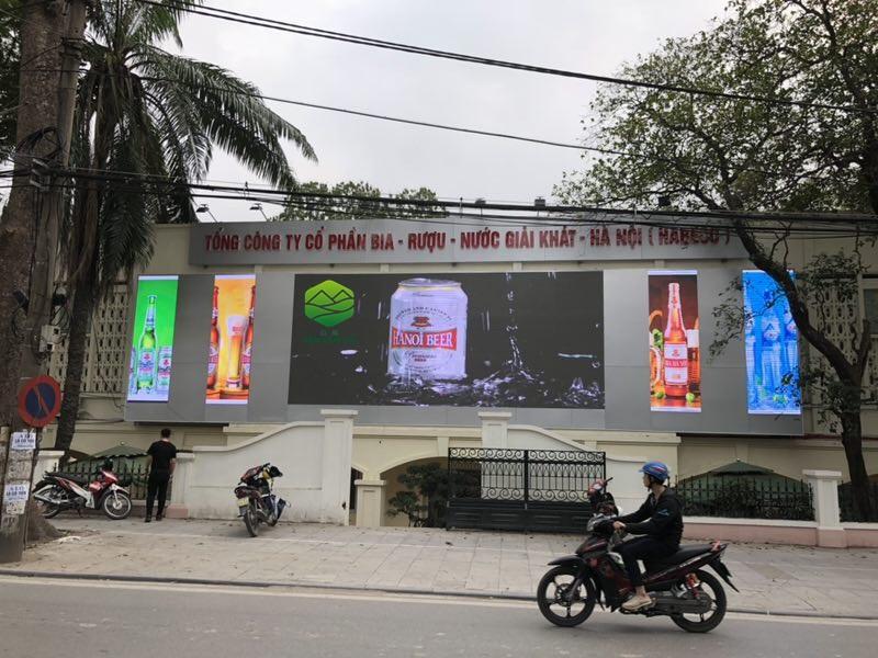 Thi công 50 m2 màn hình led P6 full color outdoor tại công ty Bia Hà Nội - Hoàng Hoa Thám