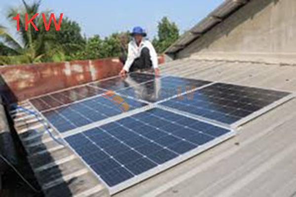 Lắp đặt hệ thống điện mặt trời hòa lưới 1kw