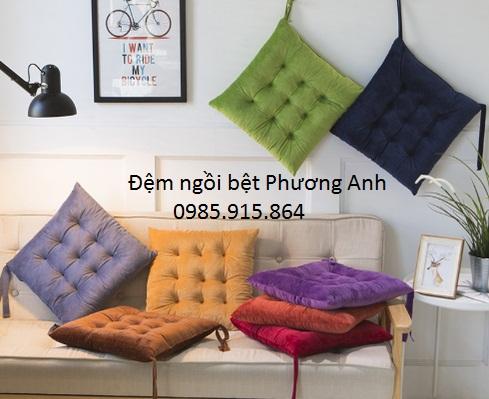 Đệm ngồi bệt, đệm lót ghế vuông color full - Nhung sang trọng