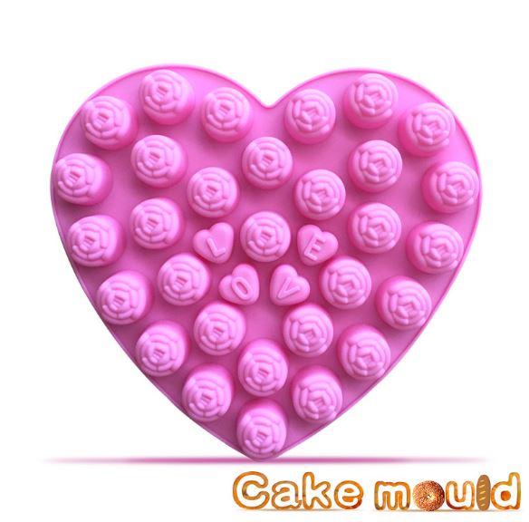 Khuôn socola hình hoa hồng chữ love