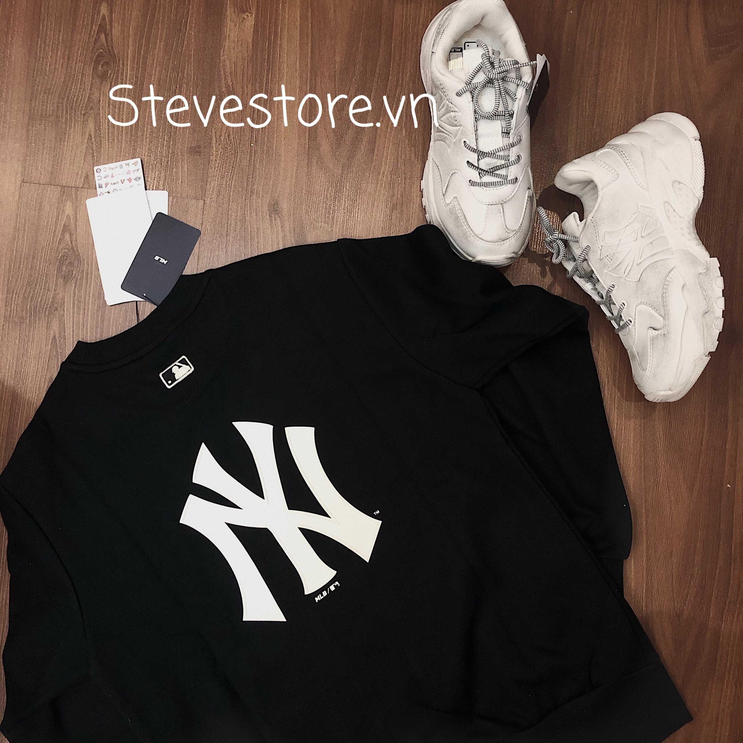 Hàng chính hãng MLB áo sweatshirt BASIC đen