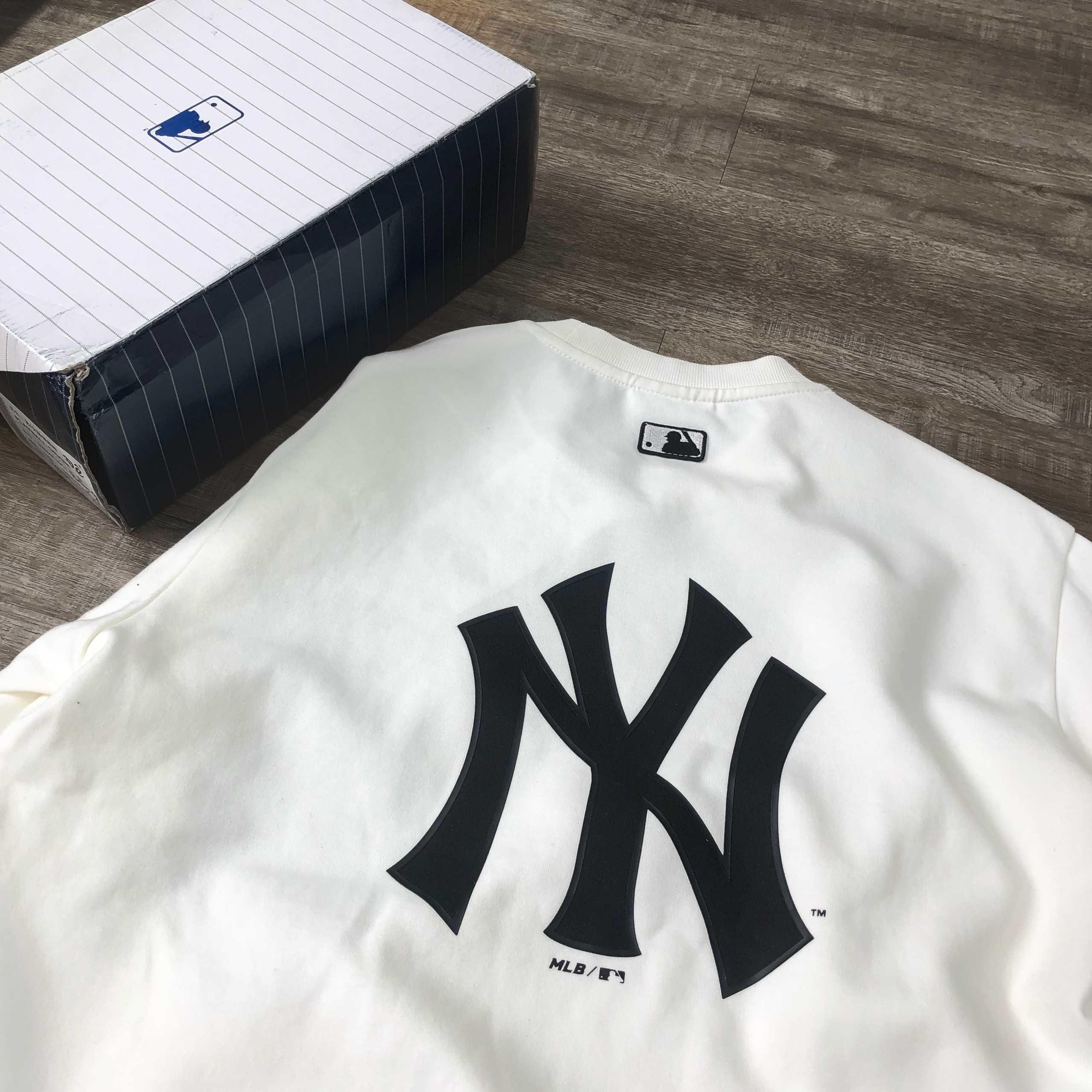 Hàng chính hãng MLB áo sweatshirt BASIC trắng