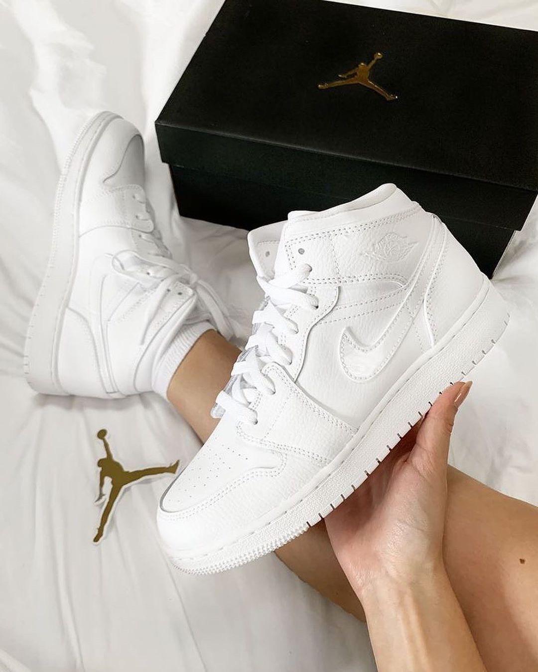 Hàng chính hãng Jordan 1 Mid All White 554725126 554725130 bq6472110 554725110