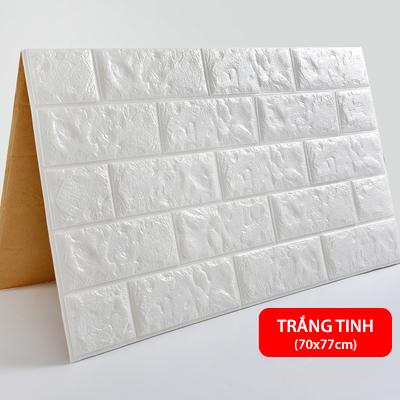 Xốp dán tường 3D giả gạch - Màu Trắng