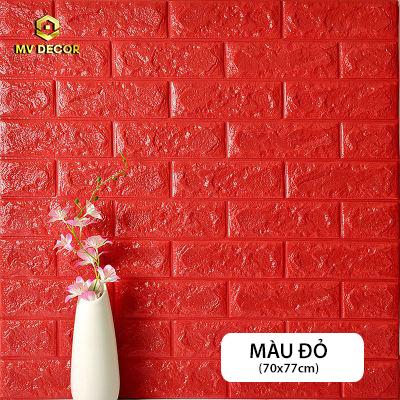 Xốp dán tường 3D giả gạch - Màu đỏ