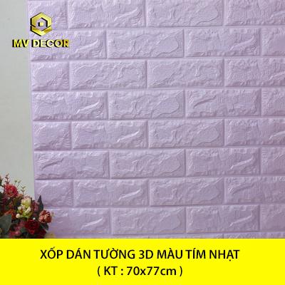 Xốp dán tường 3D giả gạch - Tím nhạt