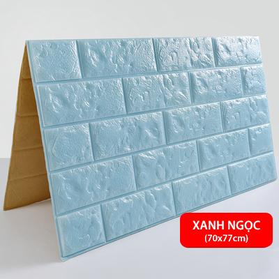 Xốp dán tường 3D giả gạch - Xanh ngọc