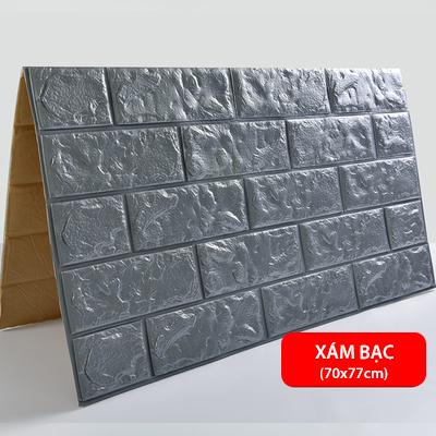 Xốp dán tường 3D giả gạch - Xám bạc