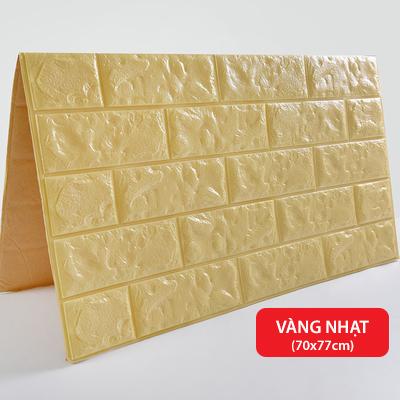 Xốp dán tường 3D giả gạch - Vàng nhạt