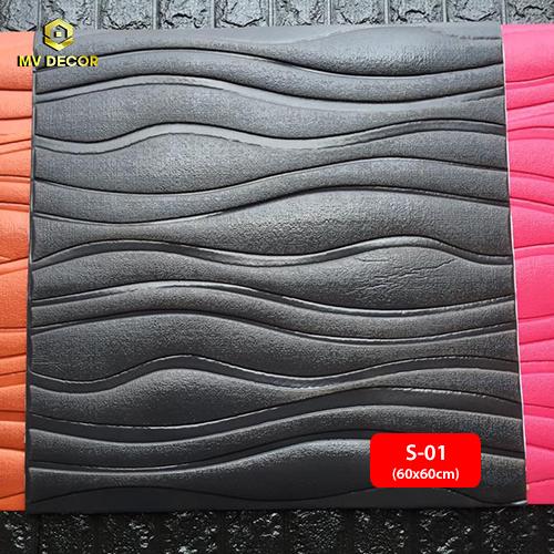 Xốp dán tường 3D vân sóng màu đen