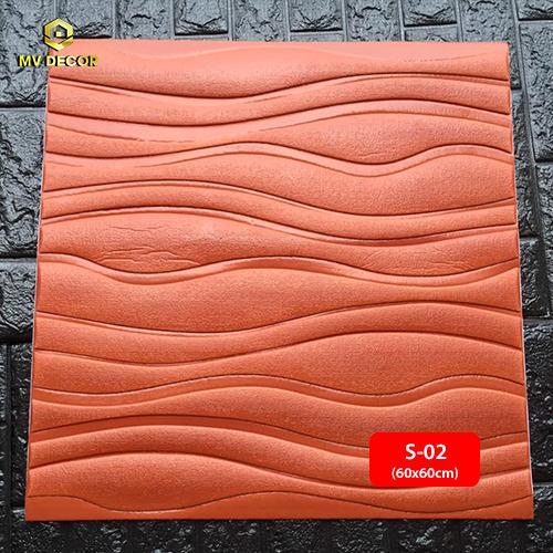 Xốp dán tường 3D vân sóng màu nâu