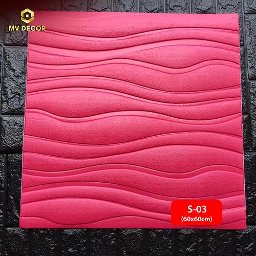 Xốp dán tường 3D vấn sóng màu hồng