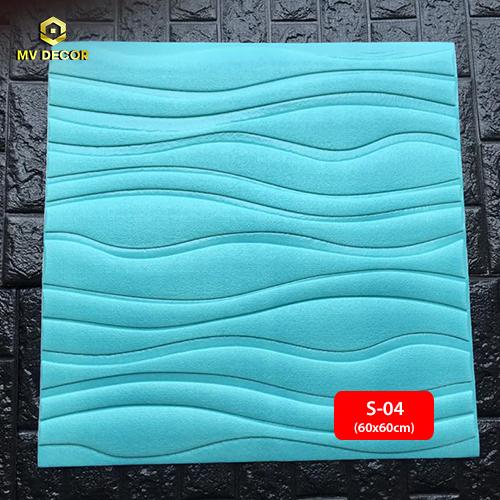 Xốp dán tường 3D vân sóng màu xanh da trời