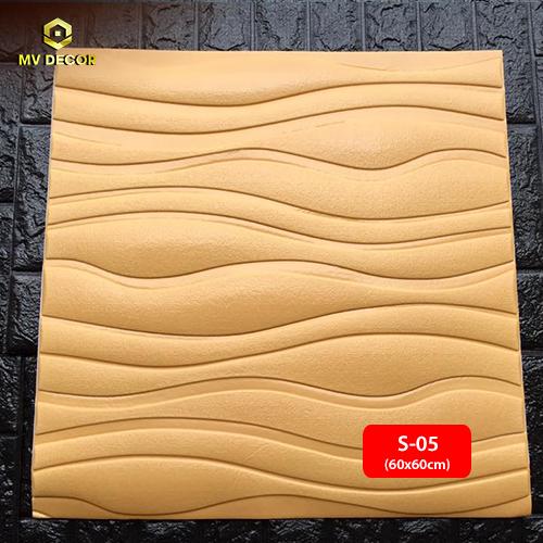 Xốp dán tường 3D vân sóng màu vàng nhạt