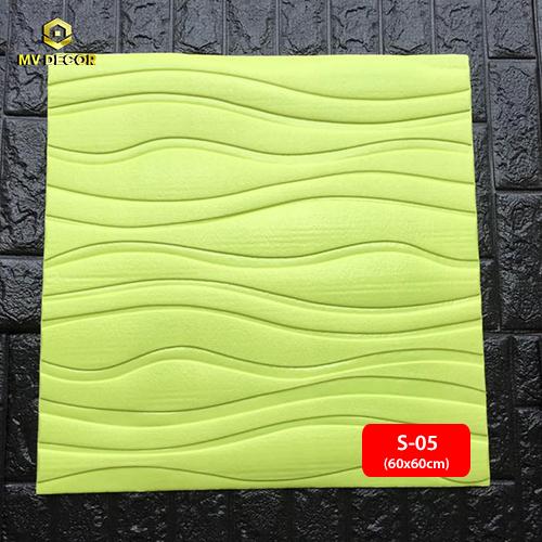 Xốp dán tường 3D vân sóng màu xanh lá cây