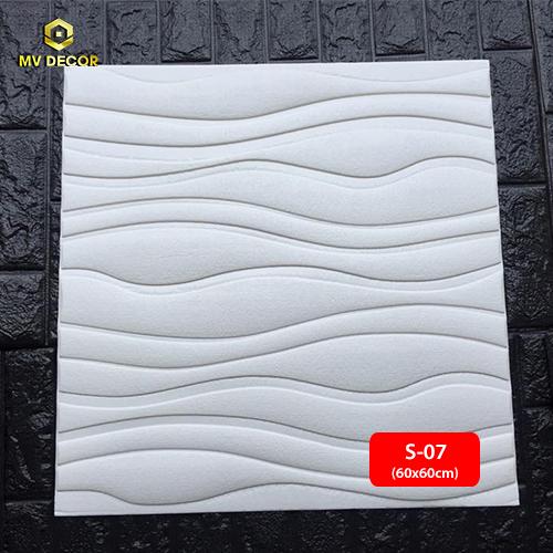 Xốp dán tường 3D vân sóng màu trắng