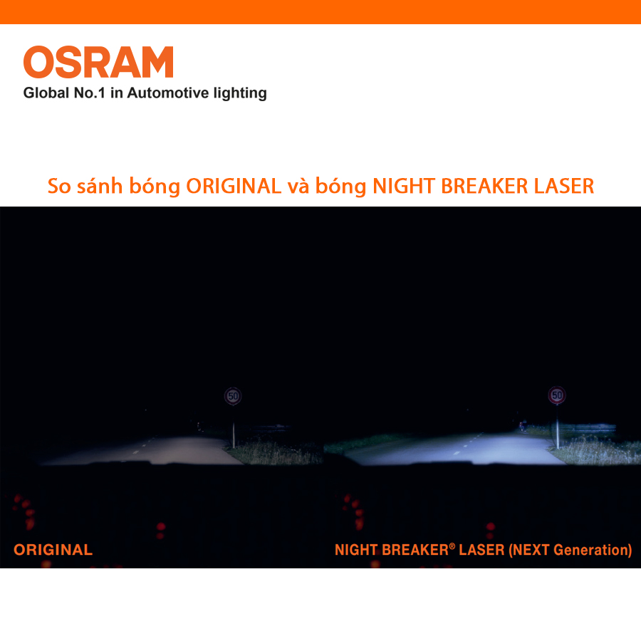 Bóng đèn halogen tăng sáng 150% OSRAM NIGHT BREAKER LASER H4 12v 60/55w