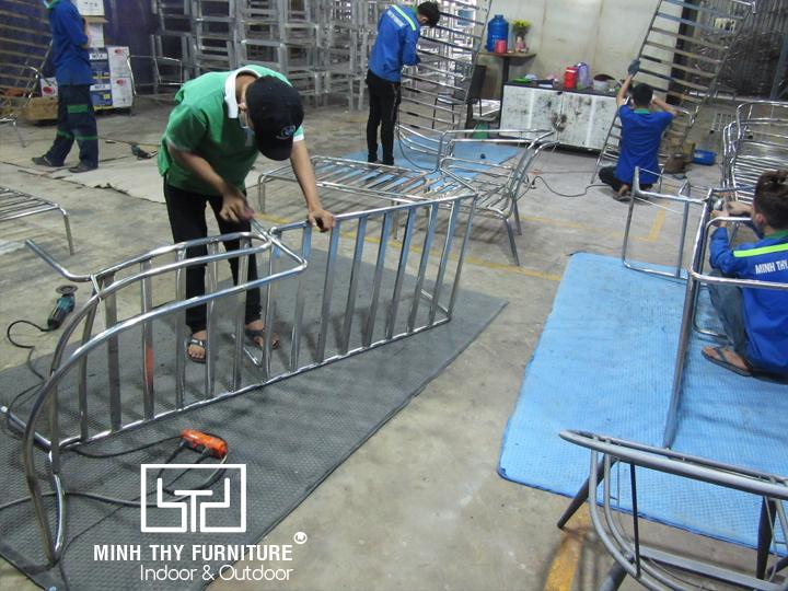 ghế hồ bơi mây nhựa MT4A58 khung inox 304