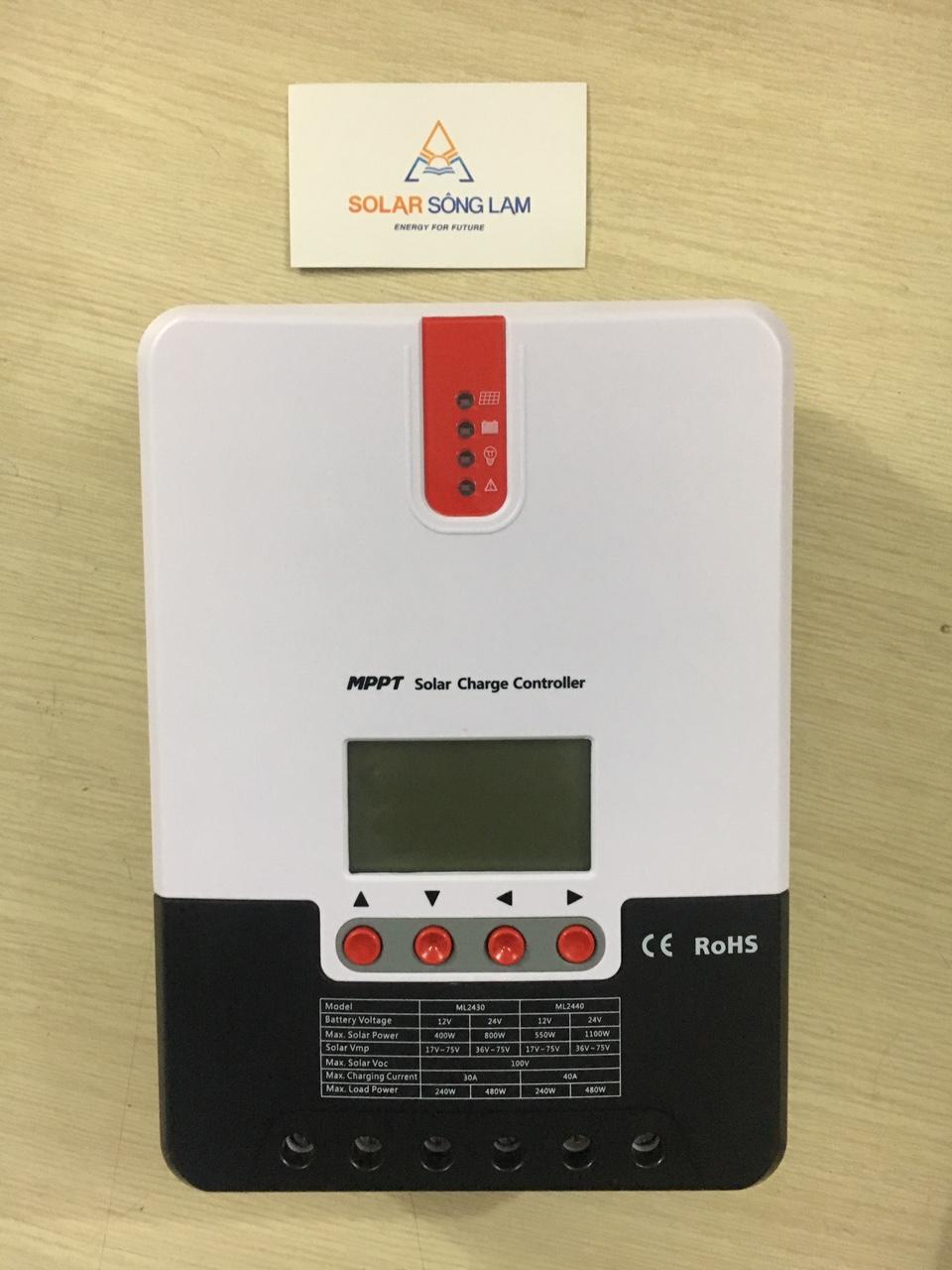 Điều khiển sạc năng lượng mặt trời công nghệ MPPT nhãn hiệu SRNE 30A autovol 12/24