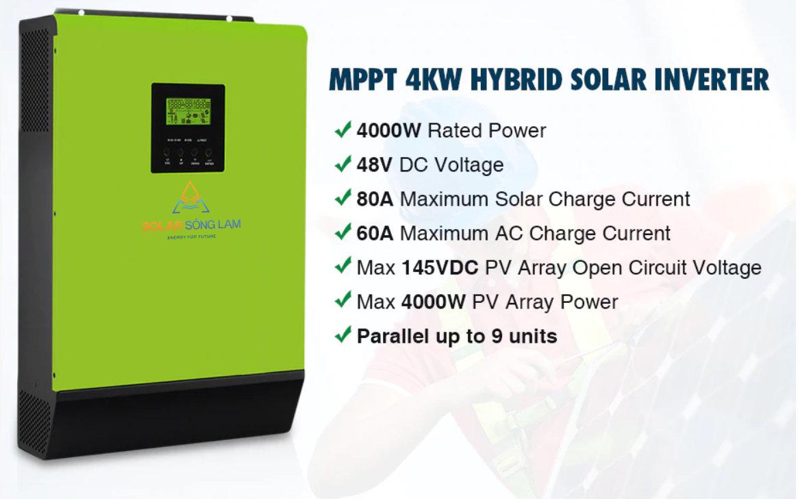Biến tần hoà lưới năng lượng mặt trời có lưu trữ INFINISOLAR 4K-48Vol- 80A Mppt SCC