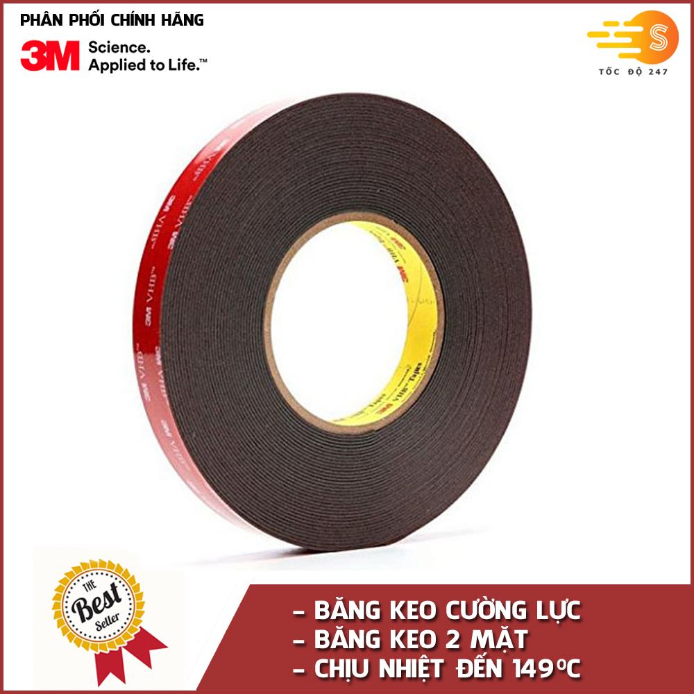 Băng keo cường lực siêu dính màu đen 3M khổ 10mm x 33m VHB 5952-10