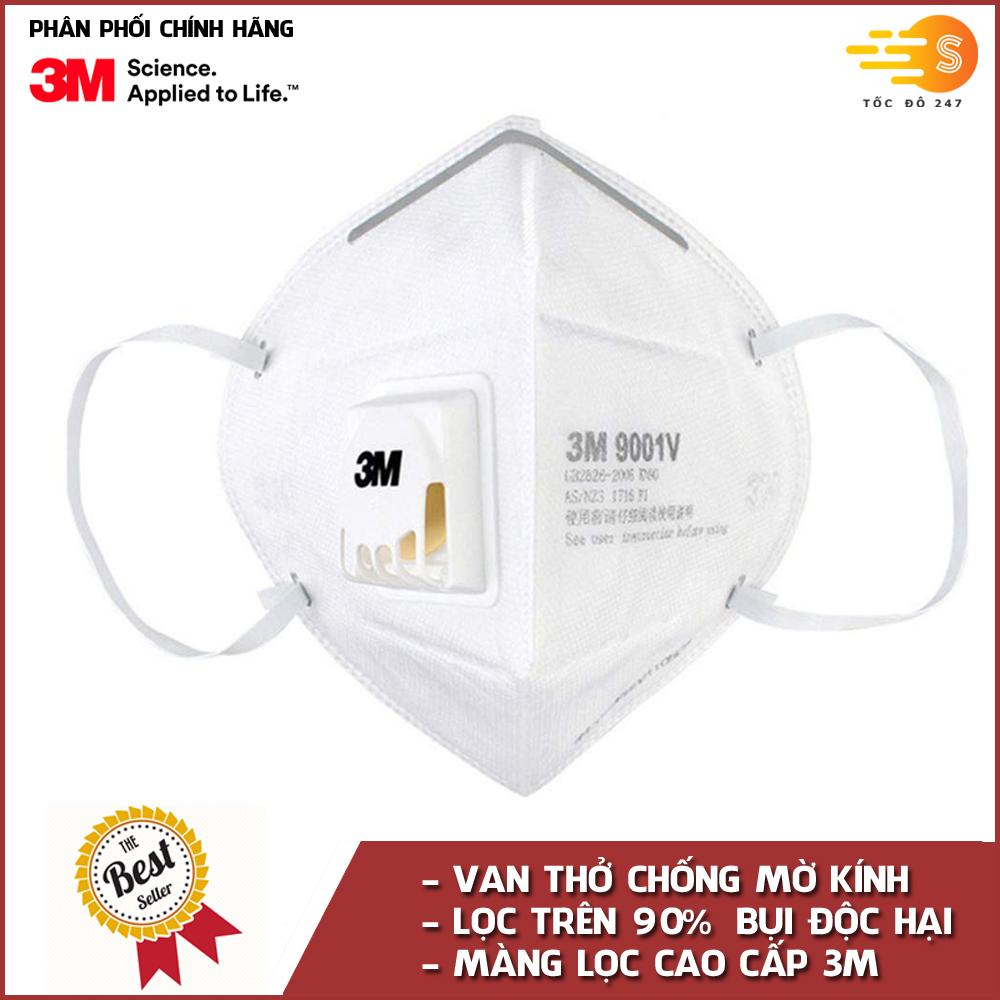 Khẩu trang chống bụi và kháng khuẩn có van thở chống mờ kính 3M 9001V