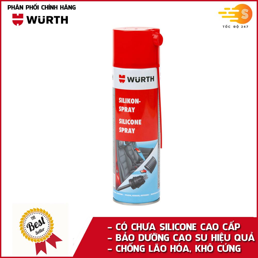 Chai xịt bảo dưỡng cao su có silicone và nhựa chuyên dụng Wurth WU-DDN500