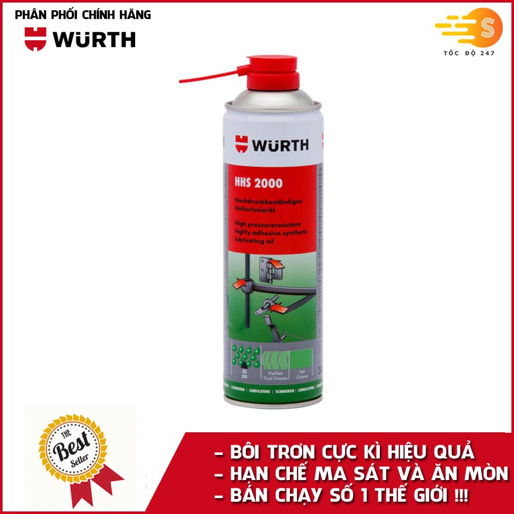 Chai xịt mỡ bò nước chuyên dụng giúp bôi trơn Wurth WU-HHS2000