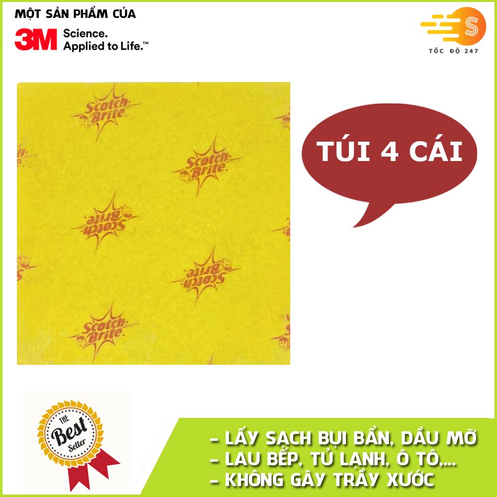 Gói 4 cái khăn lau đa dụng không trầy xước 34x35cm Scotch-Brite 3M