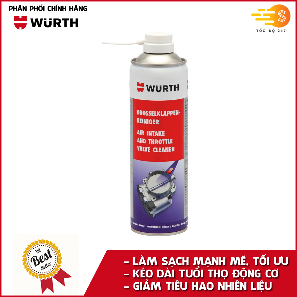 Chai xịt vệ sinh họng ga, bướm ga cao cấp Wurth WU-VHG500