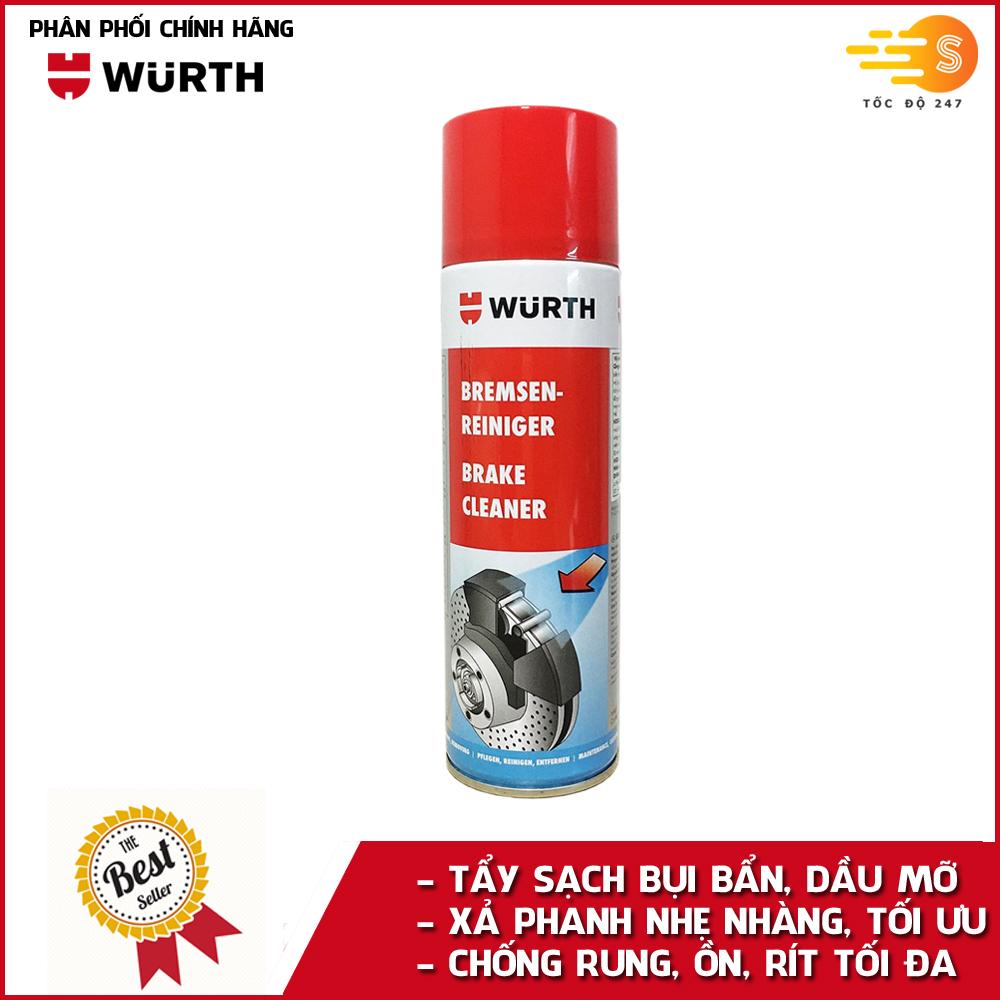 Dung dịch tẩy rửa phanh, dầu mỡ ô tô chuyên dụng Wurth WU-VST500