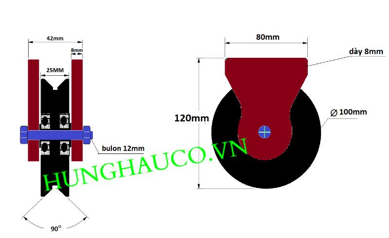 bánh xe đơn cửa cổng lùa ray V 100mm - có pát hàn