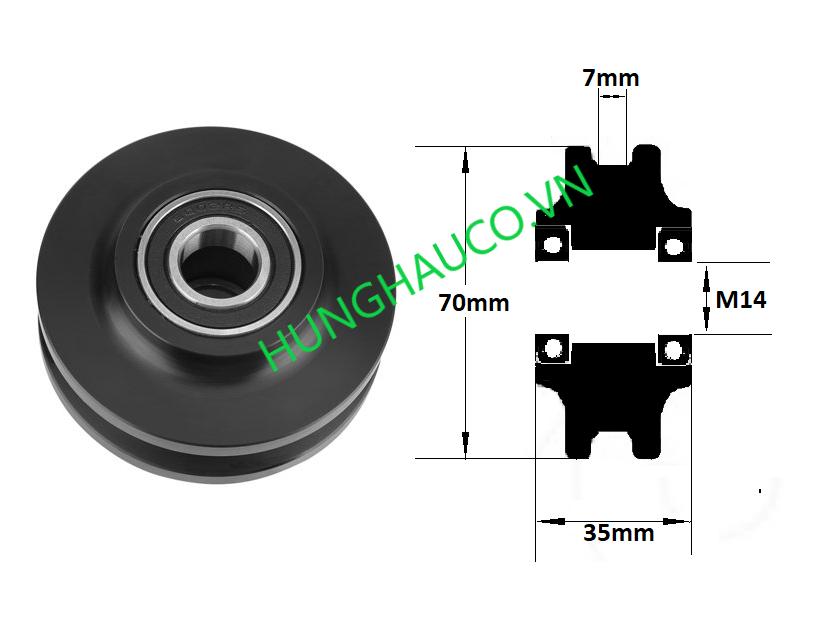 bánh xe cửa lùa nhựa , chạy ray dẹp 7mm - lổ trục 14mm