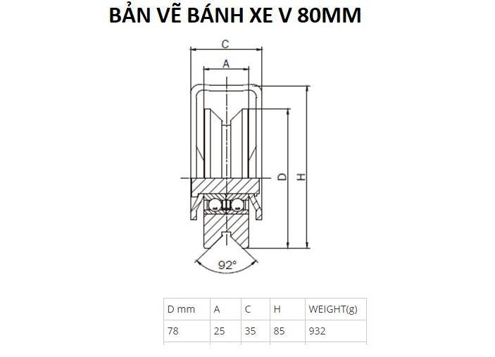 Bánh xe cửa cổng lùa ray V 80mm