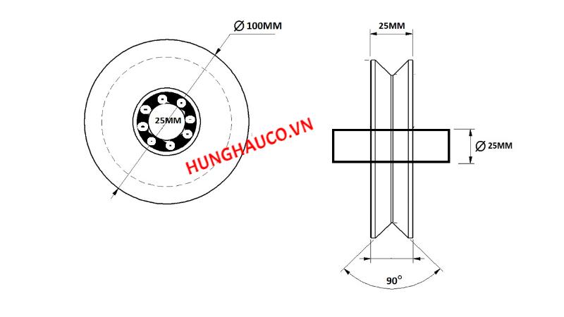 bánh xe ray V 100mm, có bạc đạn - lổ trục 25mm