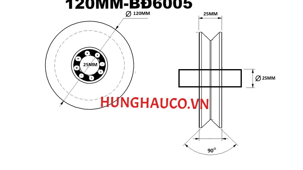 bánh xe ray V 120mm, có bạc đạn - lổ trục 25mm